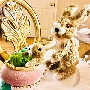 Easter Bunny Decor Figurine. NEW. Bunny in cart.